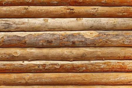 Log Cabin Or Barn Unpainted Debarked Wall Textured Horizontal Background With Copy Space Reklamní fotografie