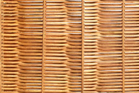 wooden partition: Wooden Wavy Sunblind Made From Thin Planks, Isolated Background Or Texture