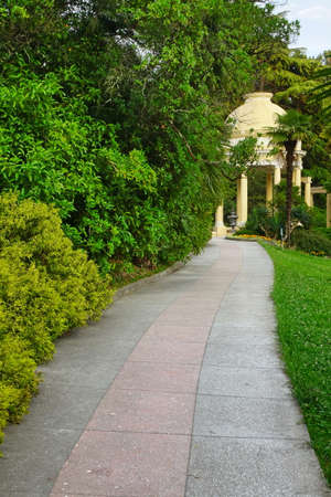 twisty: Summer Landscape In Tropical Ornamental Park With Twisty Walkway And Yellow Antique Yellow Porch In The Background, Russia, Sochi