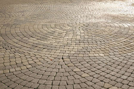 Modern  Cobblestone Paving In Perspective With Circular Pattern, Abstract Grey Background Or Texture With Copy Space