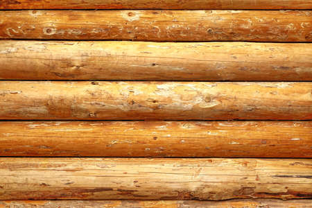 unpainted: Log Cabin Or Barn Unpainted Debarked Wall Textured Horizontal Background With Copy Space