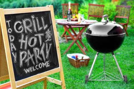 lawn party: An Invitation To A Summer Barbecue Grill Party, Written on Blackboard, Barbecue Charcoal Grill Appliance And Outdoor Wooden Furniture On The Backyard Garden Lawn In The Background