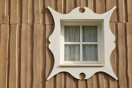 overlapped: Wooden Overlapped Boarded Wall Background With Single Window And Carved White Plat Band