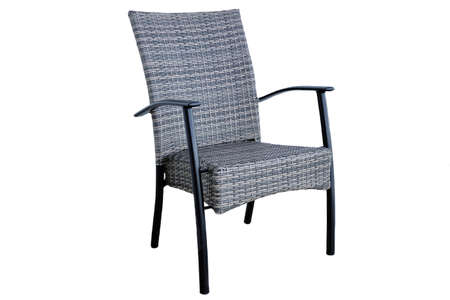 arredamento classico: Outdoor Rattan Grey Lounge Dining Chair Or Armchair Made from Eco-Friendly Poly Wicker Material With Black Metal Armrest. Weather Resistant. Isolated On White Background