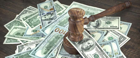 requisition: Auction Or Trial Concept With Auctioneers Or Judges Gavel And Scattered Money Heap On Wooden Table, Close Up,