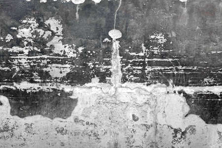 grunge layer: Black And White Concrete Old Wall With Damaged Plaster Layer Absract Texture Or Background With Copy Space, Close Up, Grunge Surface, Rough Structure