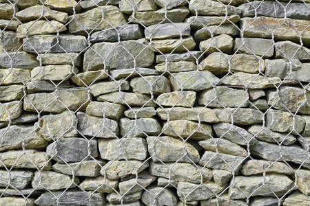 gabion mesh: Gabion Retaining Wall Background Or Texture. Big Metal  Rectangular Cage Or Basket Filled With Rocks