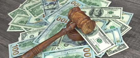 confiscation: Judges or Auctioneers Gavel Or Hammer On Huge Heap Of Money On Wooden Table, Concept for Trial, Concept For Auction, Close Up,