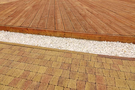 Backyard Dry Patio Or Terrace Surface In Perspective View. Composite Wood  Decking, Drain System
