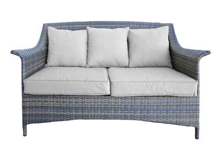 wicker bar: Outdoor Rattan Grey Lounge Garden Couch With Two Seat And Cushions, Made From Eco-Friendly Poly Wicker Material. Weather Resistant. Isolated On White Background Stock Photo