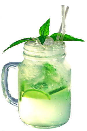 misted: Misted And Wet Glass Mason Jar With Mojito Cocktail Isolated On White  Backgro?nd, Close Up