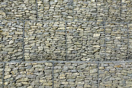 retaining: Gabion Retaining Wall Background Or Texture. Big Metal  Rectangular Cage Or Basket Filled With Rocks