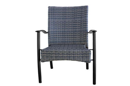 resistant: Outdoor Rattan Grey Lounge Dining Chair Or Armchair Made from Eco-Friendly Poly Wicker Material With Black Metal Armrest. Weather Resistant. Isolated On White Background