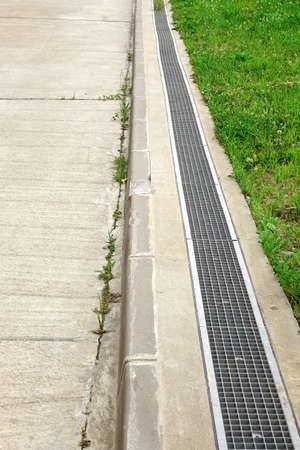 catchment: Concrete Driveway And Drain System On The Hillside, Slope Reinforced Concrete Road With Drainage