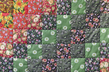 patchwork: Homemade Patchwork Quilt Background With Colorful Rustic Ethnic Handmade Geometric Pattern. Vintage Scrappy Quilting Texture. Old Retro Blanket Fabric Wallpaper. Motley Patch Work Design Art Surface Stock Photo