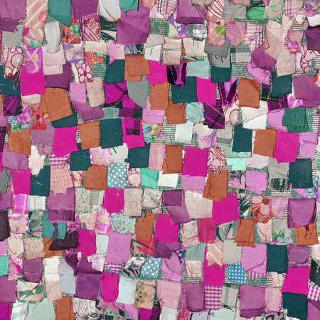 patchwork: Handmade Patchwork Quilt Background With Abstract Colorful Rustic Folk Pattern. Vintage Scrappy Quilting Texture. Retro Style Handmade Blanket Or Cloth Wallpaper. Motley Patchwork Design Art Surface Stock Photo