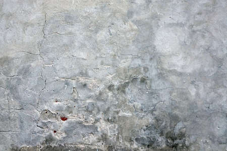 Old White Wash Plaster Wall With Cracked Surface Horizontal Empty Grunge Background. Grey Brick Mortar Wall With Broken Shabby Stucco Layer Isolated Texture. Renovation Concept. Empty Built Structure