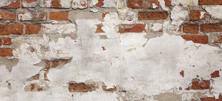 Vintage Old Brick Wall Texture. Grunge Red White Stonewall Background. Distressed Wall Surface. Grungy Wide Brickwall. Shabby Building Facade With Damaged Plaster.  Abstract Web Banner. Copy Space