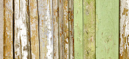 Green Barn Wooden Wall Planking Wide Texture. Old Solid Wood Slats Rustic Shabby Horizontal Background. Paint Peeled Grungy Weathered Isolated Surface. Faded Natural Wood Boards. Abstract Web Banner Reklamní fotografie