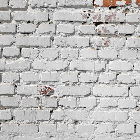 Abstract Rectangular Red White Texture. Old Red Brick Wall With Stained And Shabby Uneven White Plaster Layers. Painted Whitewashed Brickwall Grungy Background. Stonework Square Frame Grunge Wallpaper