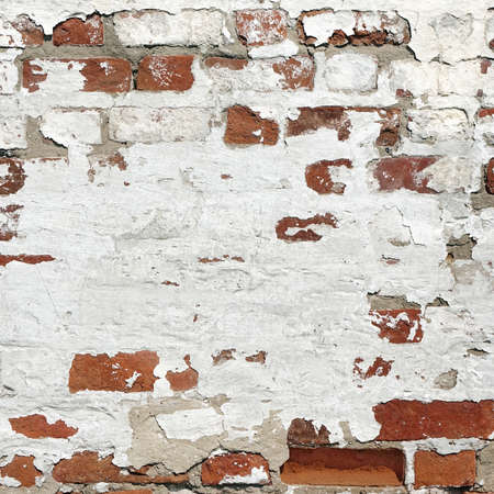 Abstract Red White Stonewall Urban Texture. Old Red Brick Wall With Shabby Damaged White Plaster.  Painted Whitewashed Brickwall Grungy Background. Stonework Square Frame Grunge Empty Wallpaper.