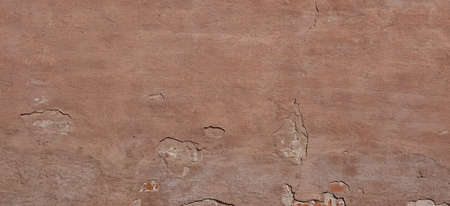 Dark Plaster Wall With Dirty Red Brown Scratched Horizontal Background. Old Brickwall With Peel Rusty  Stucco Texture. Retro Vintage Worn Wall Wallpaper. Decay Crack Rough Abstract Banner Surface. Reklamní fotografie