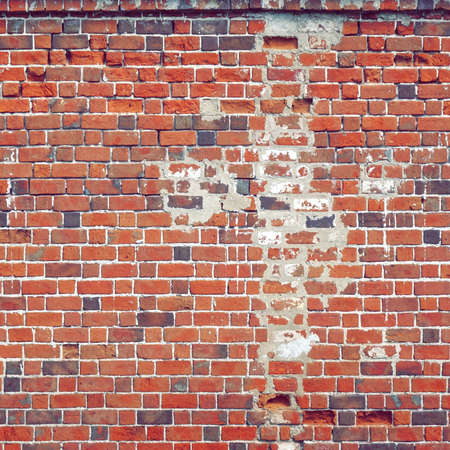Old Red Brick Wall Square Texture.  Distressed Brickwall Frame Background. Grungy Stonewall Surface. Red – Brown Shabby Interior Or Exterior Wreck Wall. Worn Design Element