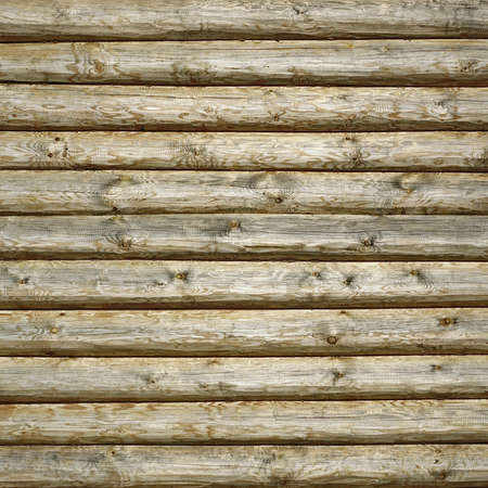 Old Hewn Natural Log Cabin Or Barn Wall Frame Texture. Rustic Vintage Log Wall Square Background. Fragment Of  Rural House Wall From Unpainted Wooden Debarked Logs Wallpaper.