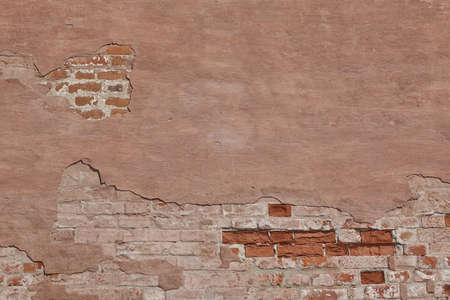 Vintage Red Plaster Wall With Cracked Surface Horizontal Empty Grunge Background. Brown Brick Mortar Wall With Broken Shabby Stucco Layer Isolated Texture.  Empty Grunge Built Exterior Structure Reklamní fotografie