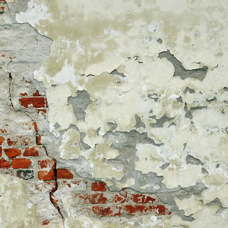 Vintage Rectangular Red White Texture. Old Red Distressed Brick Wall With Cracked White Plaster Layer. Painted Whitewashed Brickwall Grungy Background. Stonewall Square Frame Grunge Wallpaper