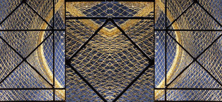 Fish Net Vintage Background. Fishing Net Abstract Texture With Knotted Pattern. Old Fishnet Wallpaper. Design Element With Retro Fish Net. Fishnet And Iron Framing Abstract Grunge Design Detail. 版權商用圖片