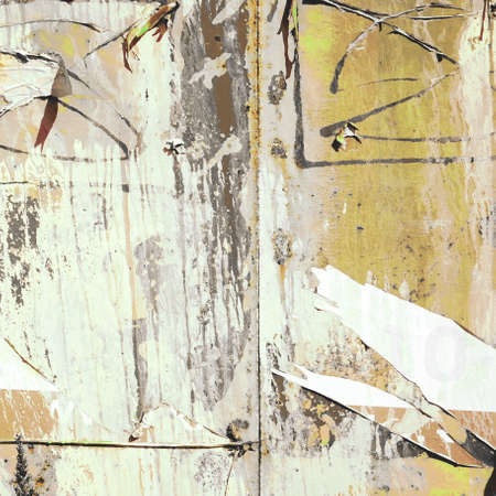 Grunge Frame Background with Old Torn Posters. Urban Graffiti Wall Texture. Old Grunge Ripped Torn Posters and Ads Street Background and Texture. Grungy Urban Wallpaper. Vintage City Billboard.