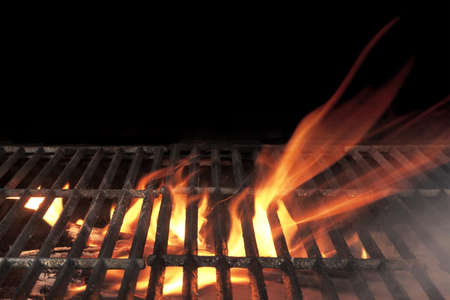 Empty Flaming BBQ Charcoal Grill, Closeup. Hot Barbeque Grill Ready Cooking Food On Cast Iron Grate. Concept For Cookout, Barbecue Party At Garden Or Backyard. Grill With Bright Flames Black Isolated. 版權商用圖片