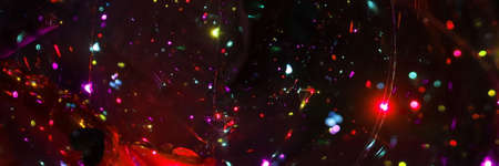 Vintage Glitter Lights Wide Background Or Wallpaper. Abstract Web Banner Of Colorful Circles And Spark Of LED Light. Neon Color Lights Background.
