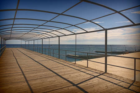 Architecture Abstract Background With Geometric Linear Pattern From Metalwork Or Framework And Black Parallel Shadows In Perspective View. Sundeck Pier Without Tent 版權商用圖片