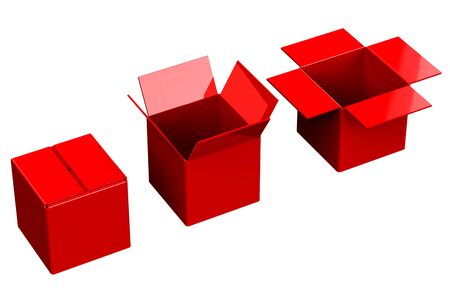 commercial event: Red shopping boxes, isolated on white background.  3D render. Stock Photo