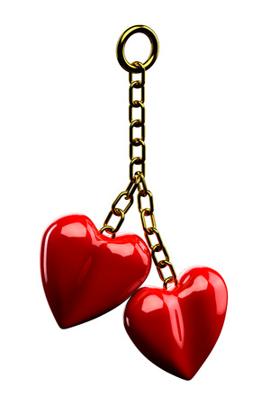 gold chain: Keychain : Gold chain with a two red hearts  isolated on white background. 3D render.