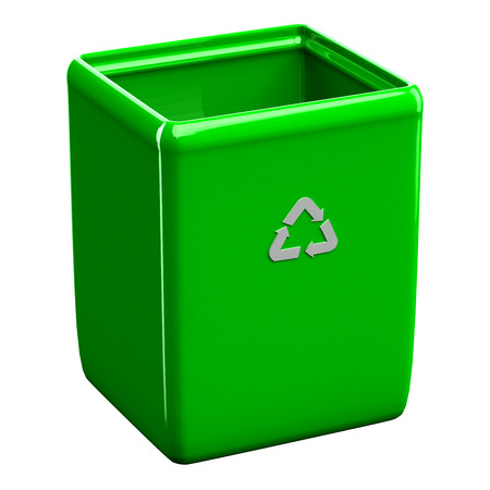 wastepaper basket: Recycling bin isolated on white background. 3D render.
