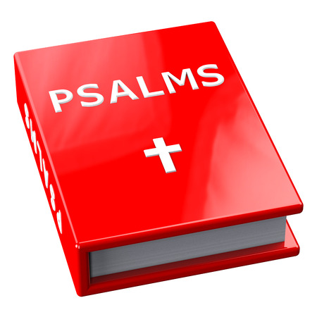 testaments: Red book with word Psalms, isolated on white background.  3D render. Stock Photo