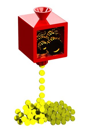 moneymaker: Machine creating gold coins, isolated on white background. 3D render.