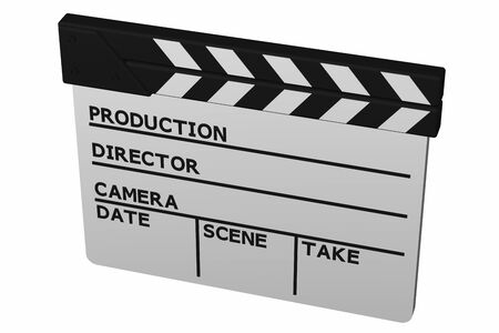 clapperboard: Clapperboard, isolated on white background. 3D render. Stock Photo