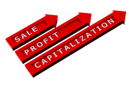 creating wealth: Finance concept: red arrows with words, sale, profit, capitalization isolated on white background. 3D render. Stock Photo
