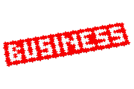 creating wealth: Red puzzle with word business, isolated on white background.  3D render.