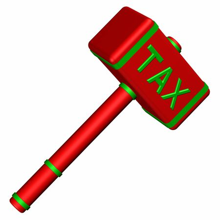 commercial activity: Hammer with word Tax, isolated on white background. 3D render.