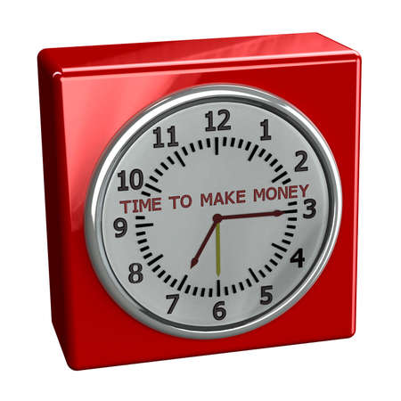 moneymaker: Red table watch with words time to make money, isolated on white background. 3D render. Stock Photo