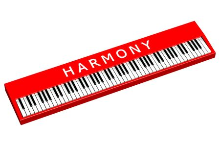 sensory perception: Red piano with word harmony