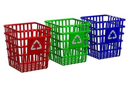 wastepaper basket: Recycling baskets isolated on white background Stock Photo