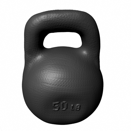 stamping: Black kettlebell with stamping 50 lb, isolated on white background. 3D render. Stock Photo