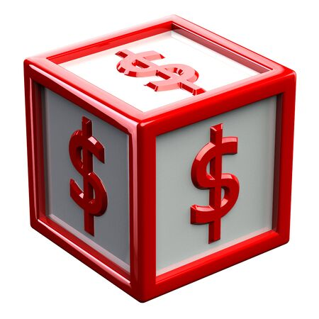 creating wealth: Sign dollar on red block, isolated on white background. 3D render.
