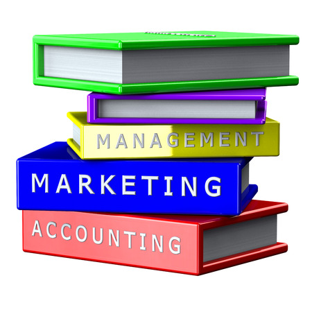 creating wealth: Finance concept:  Books Management, Marketing, Accounting isolated on white background. 3D render. Stock Photo